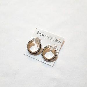 Gold and Black Hoop Earrings